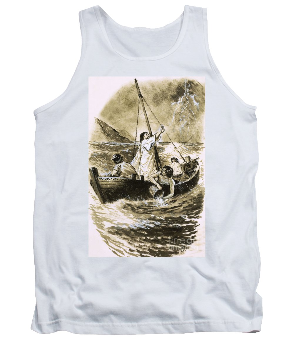 Christ Calming The Storm Tank Top featuring the painting Christ Calming The Storm by Clive Uptton