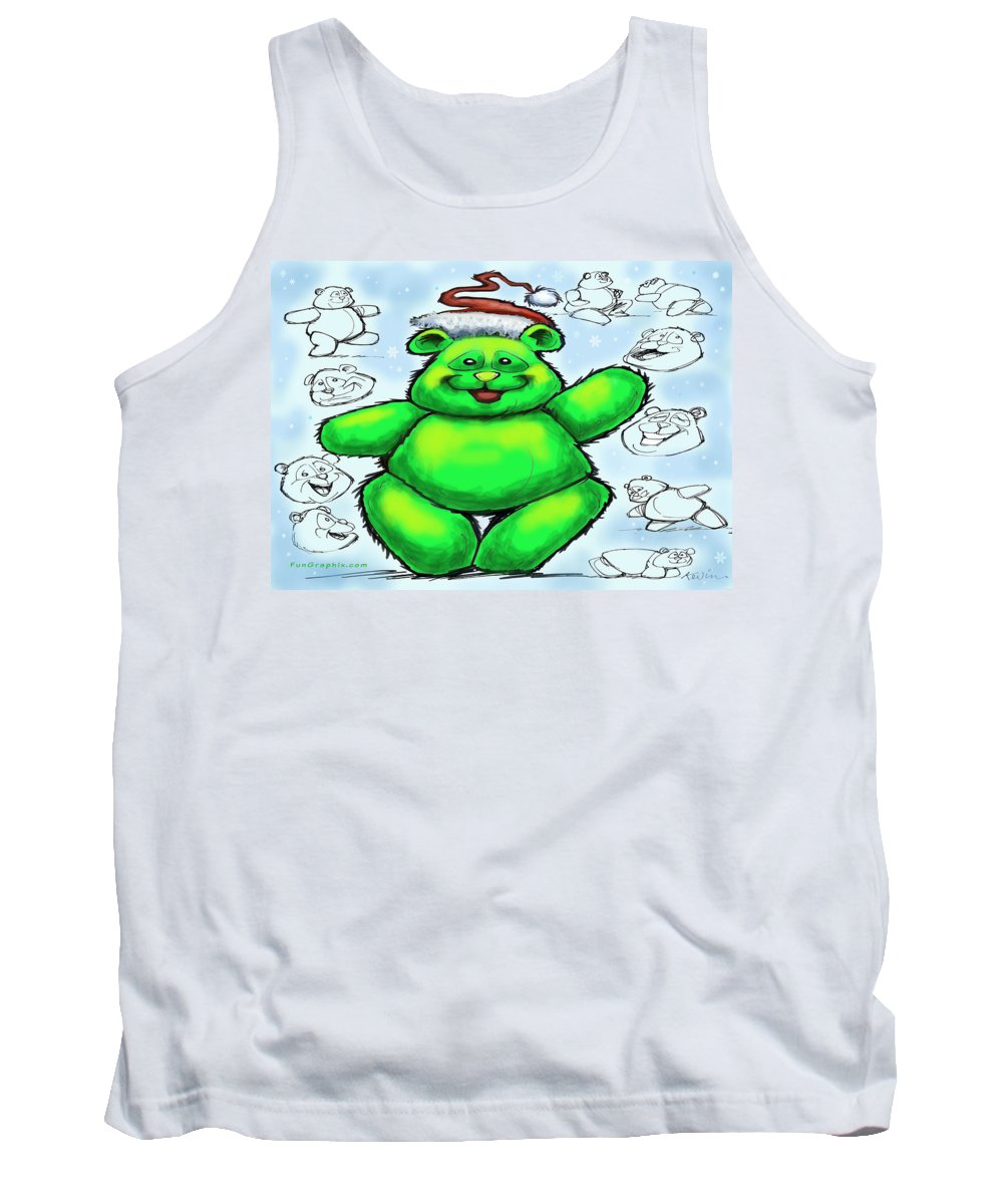 Christmas Tank Top featuring the greeting card Christmas Bear by Kevin Middleton