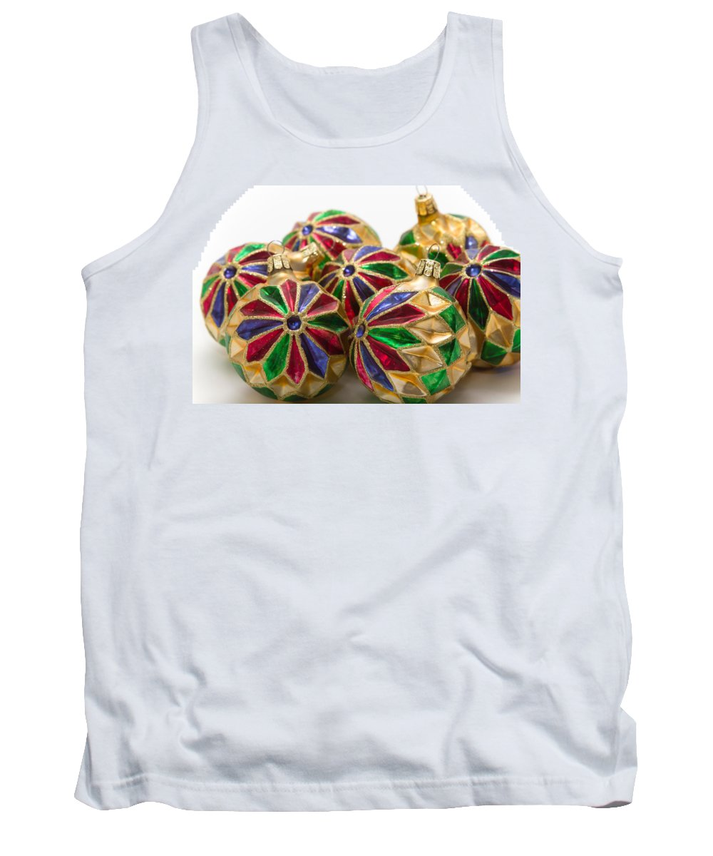 Christmas Tank Top featuring the photograph Christmas Ornaments by Louise Heusinkveld