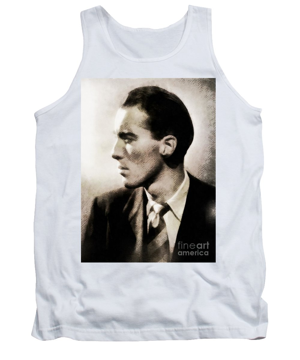 Hollywood Tank Top featuring the painting Christopher Lee, Vintage Actor by John Springfield