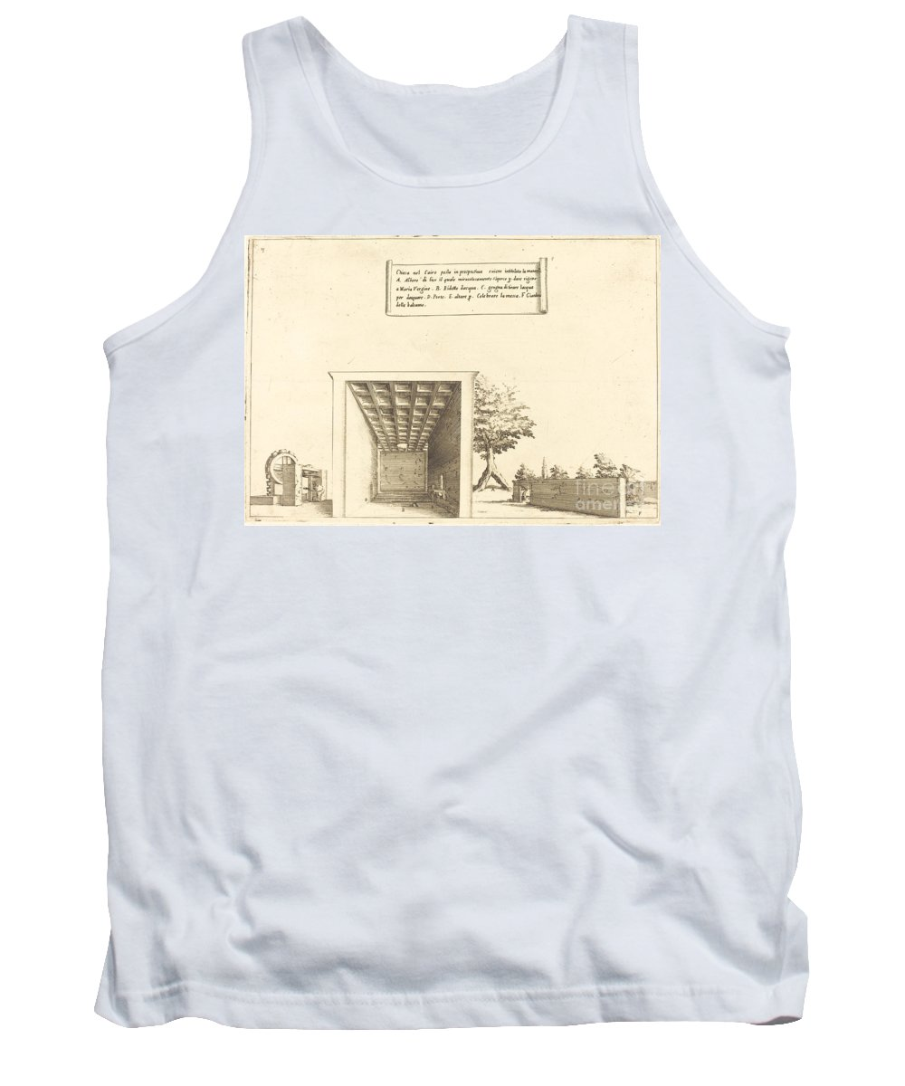 Tank Top featuring the drawing Church In Cairo by Jacques Callot