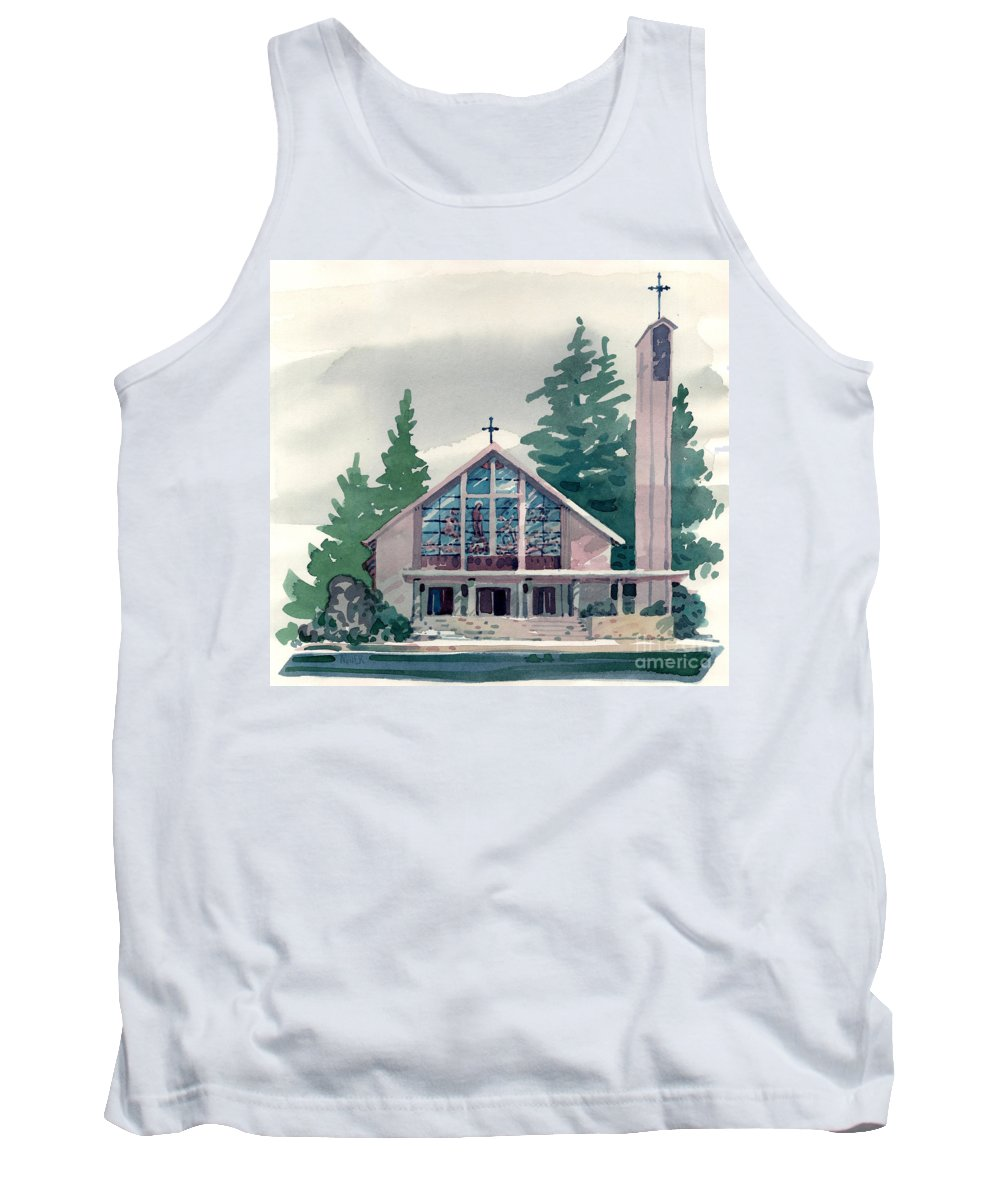 Illustration Tank Top featuring the painting Church Of The Immaculate Heart Of Mary by Donald Maier