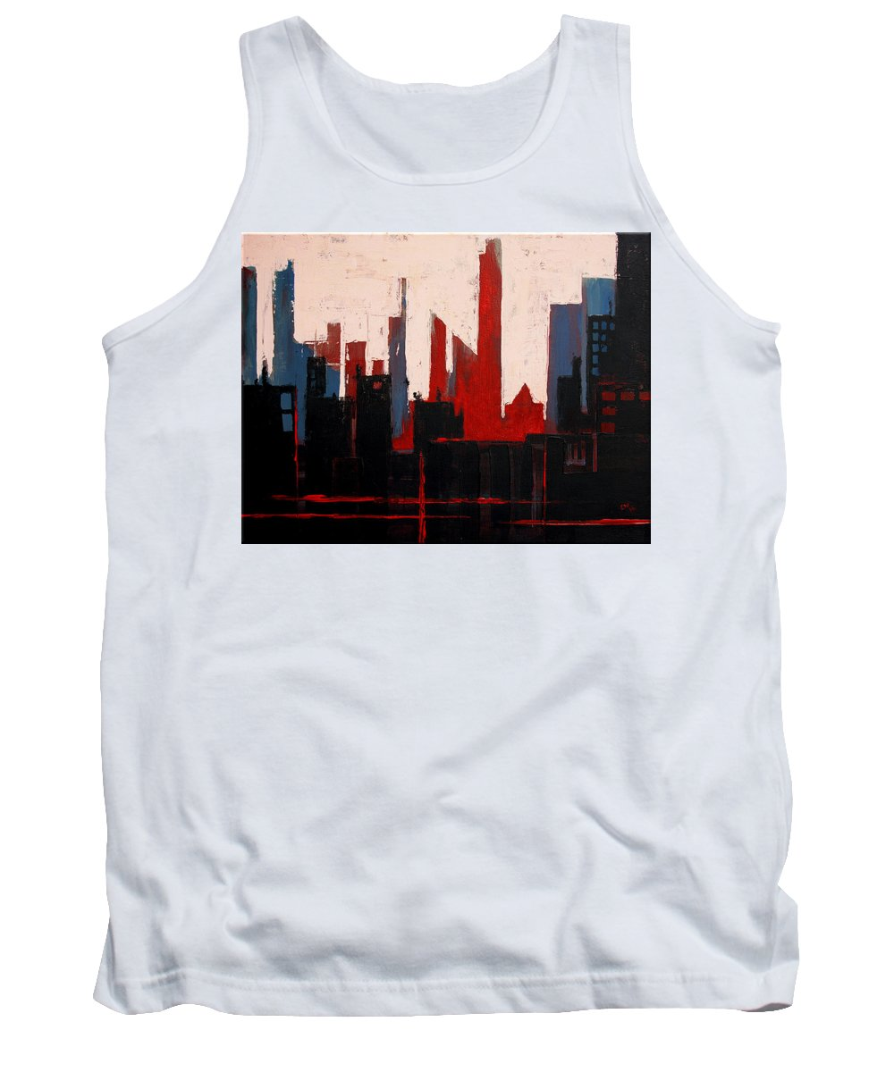 Acrylic Tank Top featuring the painting City Abstract No. 1 by Courtney Waller
