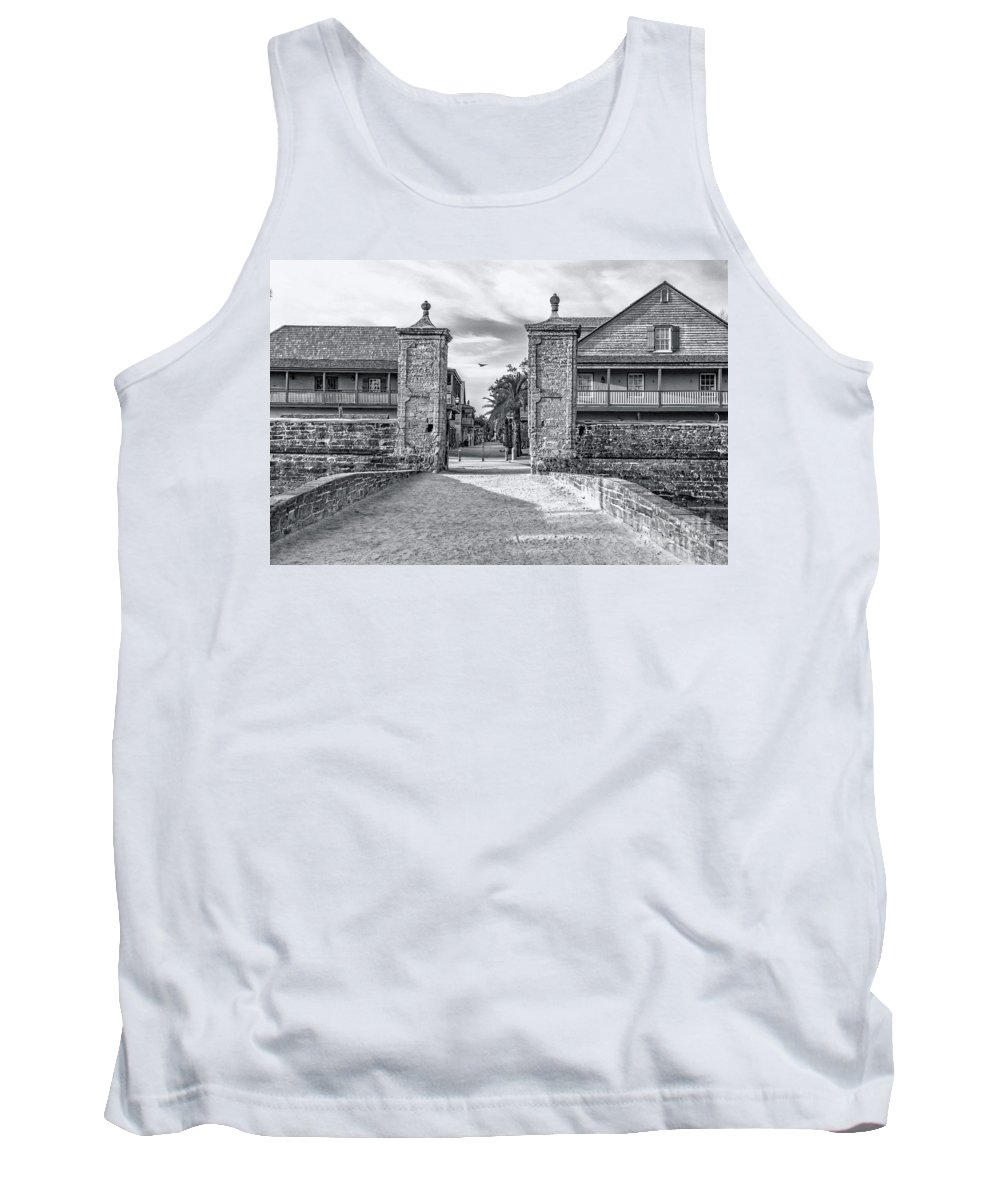 City Gates B&w Tank Top featuring the photograph City Gates Black And White 2018 by C W Hooper