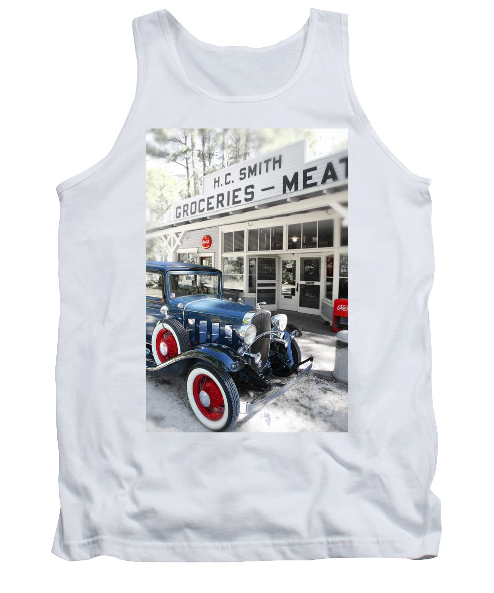 Chevy Tank Top featuring the photograph Classic Chevrolet Automobile Parked Outside The Store by Mal Bray