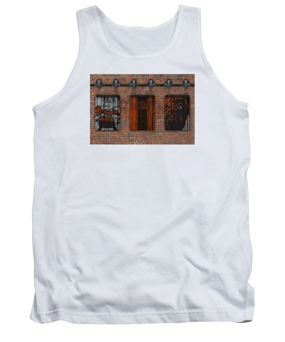 Cleveland Browns Tank Top featuring the photograph Cleveland Browns Brick Wall by Joe Hamilton