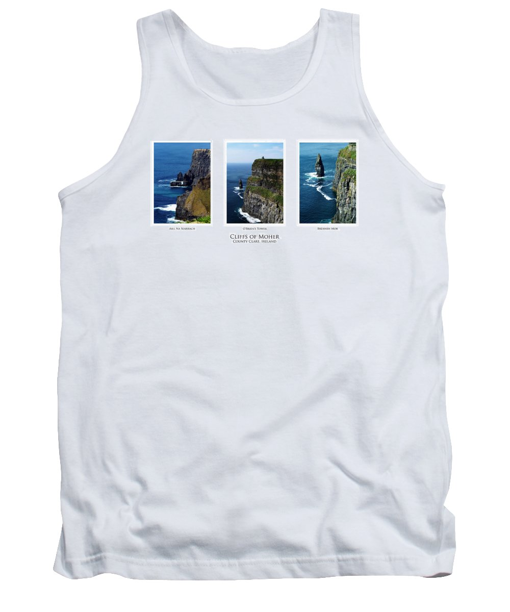 Irish Tank Top featuring the photograph Cliffs Of Moher Ireland Triptych by Teresa Mucha
