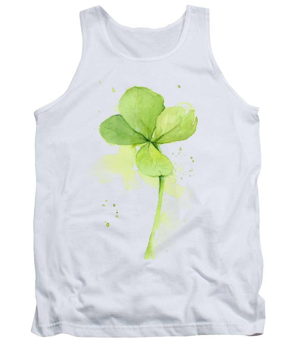 Clover Tank Top featuring the painting Clover Watercolor by Olga Shvartsur