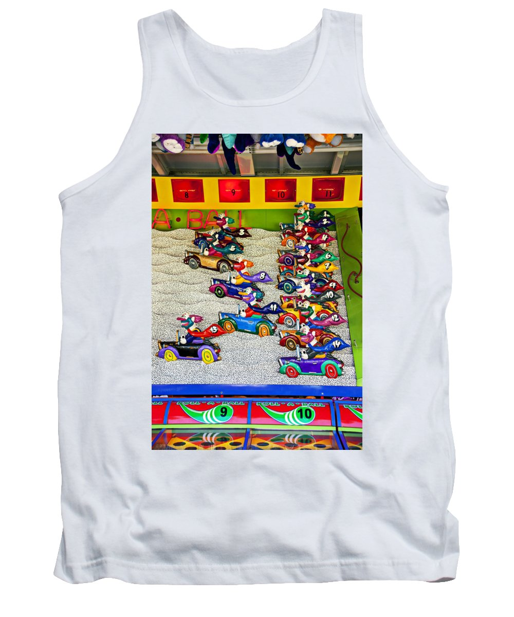 Clown Car Racing Game Carnival Tank Top featuring the Clown Car Racing Game by Garry Gay