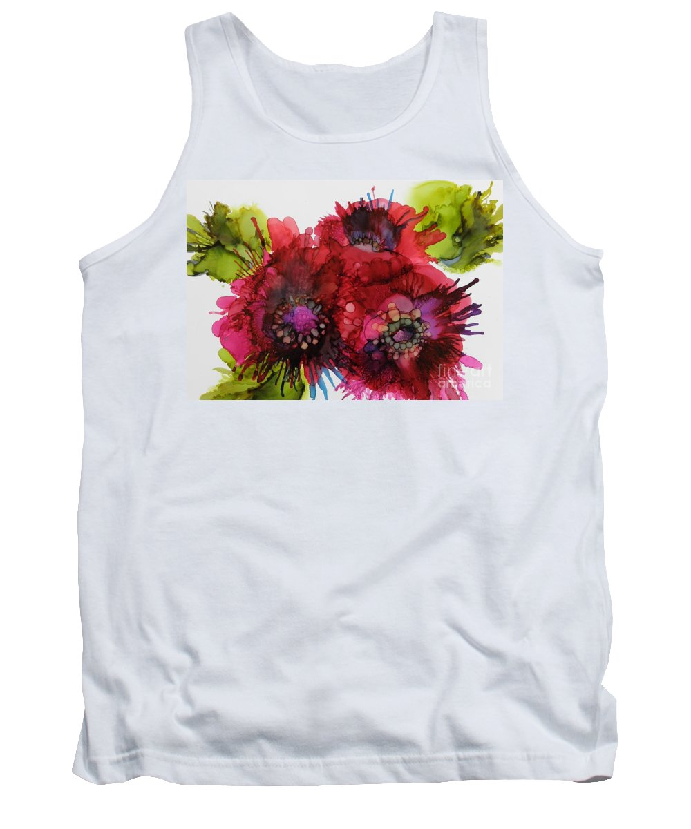 Alcohol Ink Tank Top featuring the painting Cluster by Beth Kluth