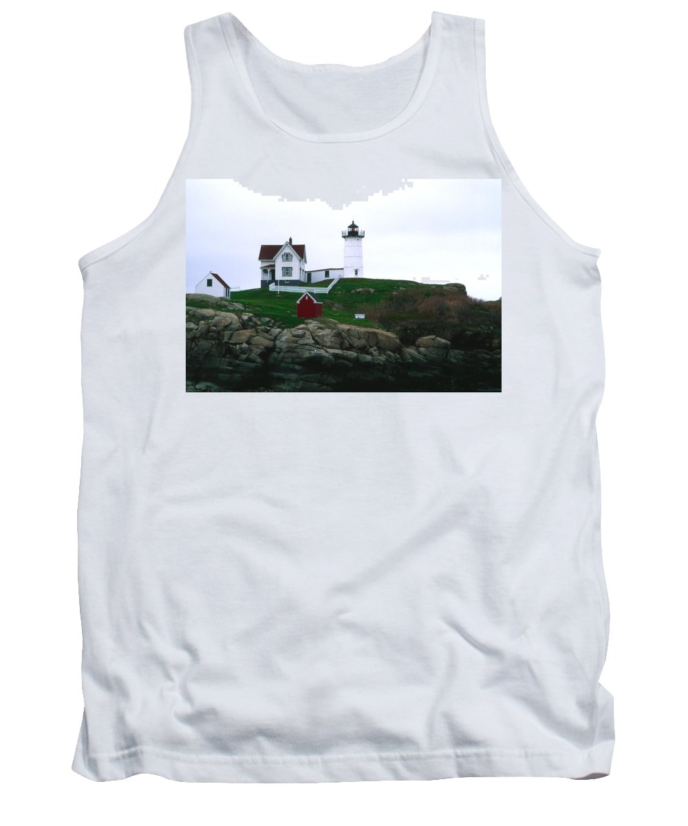 Landscape Lighthouse Nautical New England Nubble Light Cape Neddick Tank Top featuring the photograph Cnrf0502 by Henry Butz