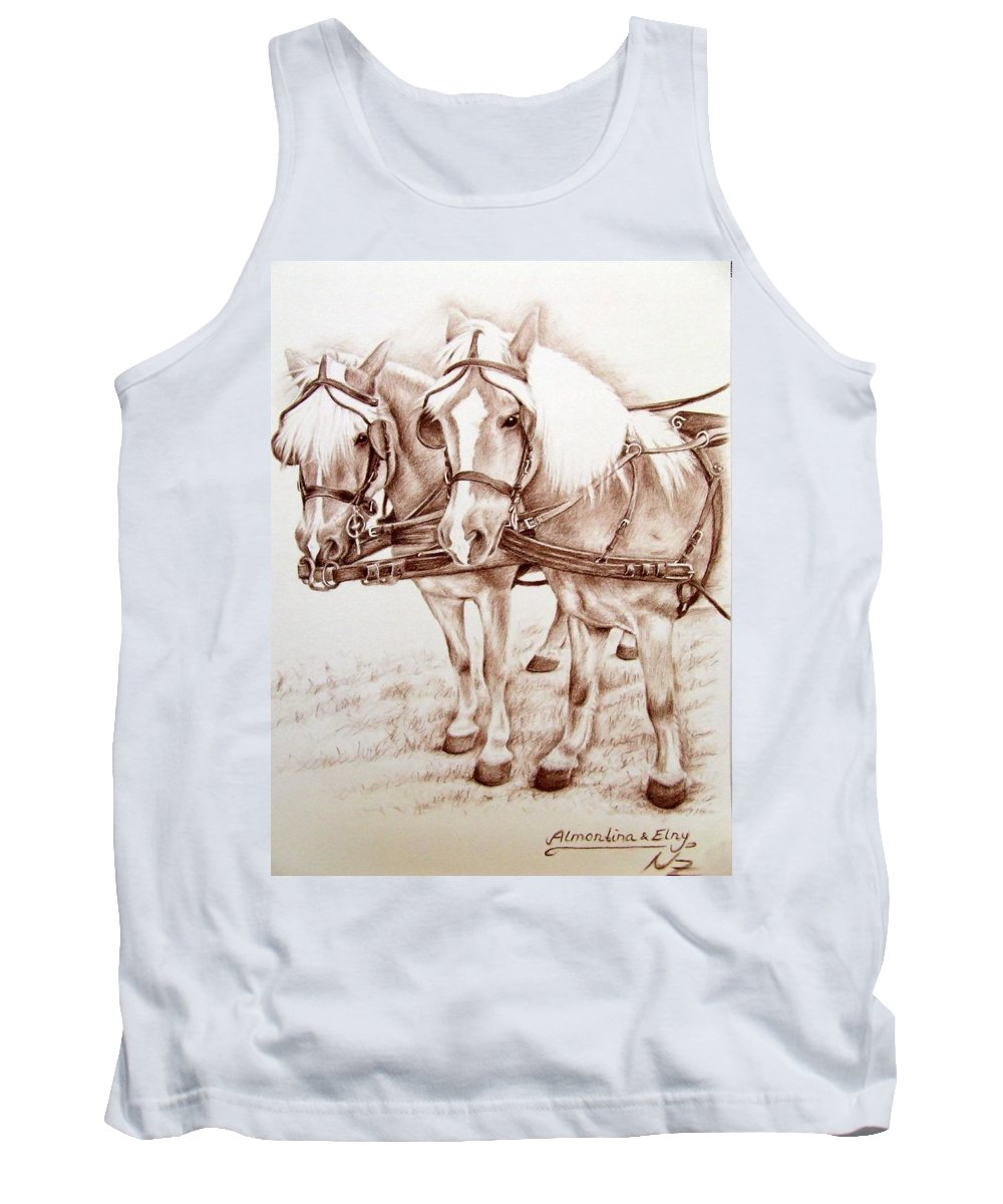 Horses Tank Top featuring the drawing Coach Horses by Nicole Zeug