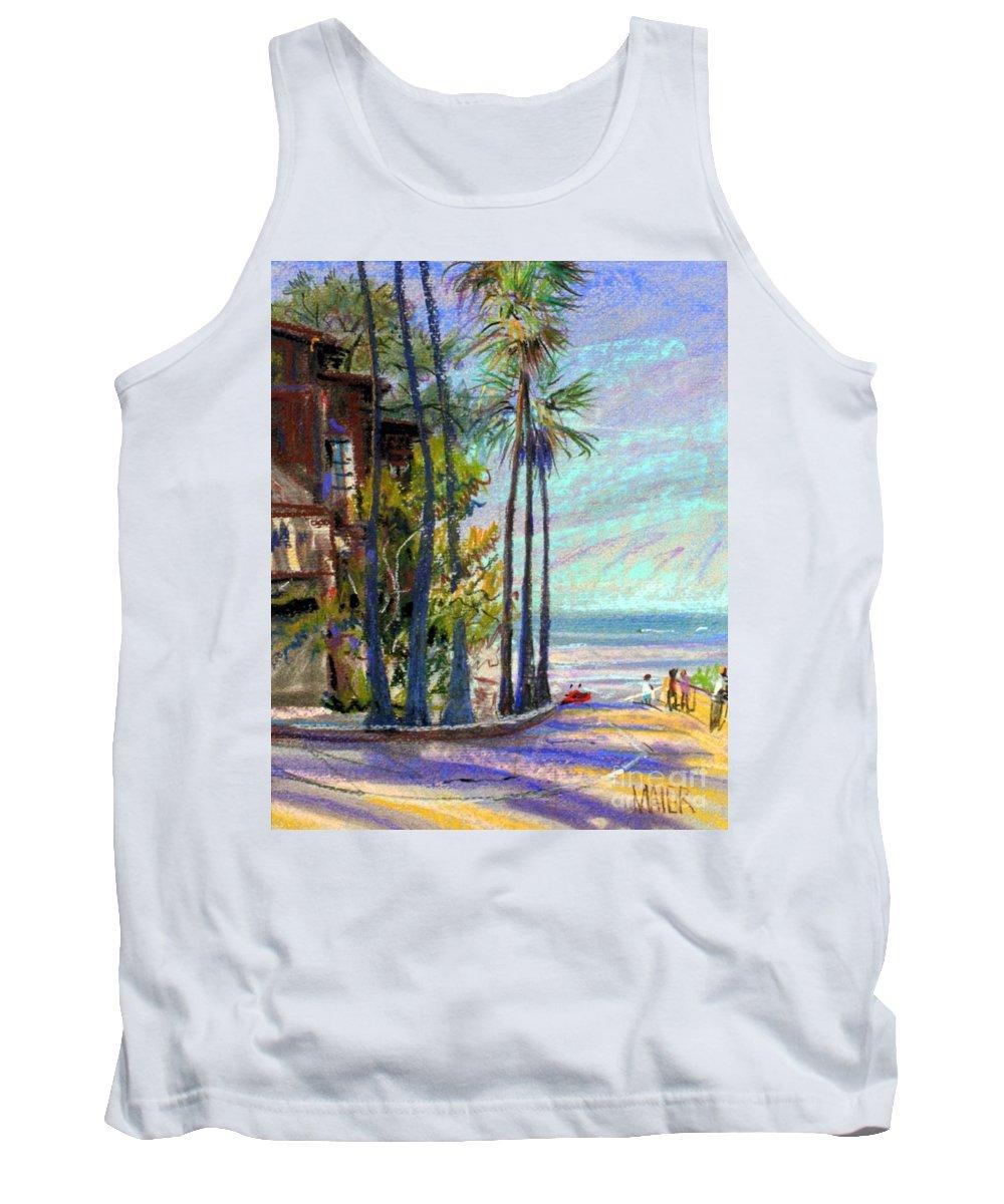 La Jolla Tank Top featuring the drawing Coast Blvd La Jolla by Donald Maier
