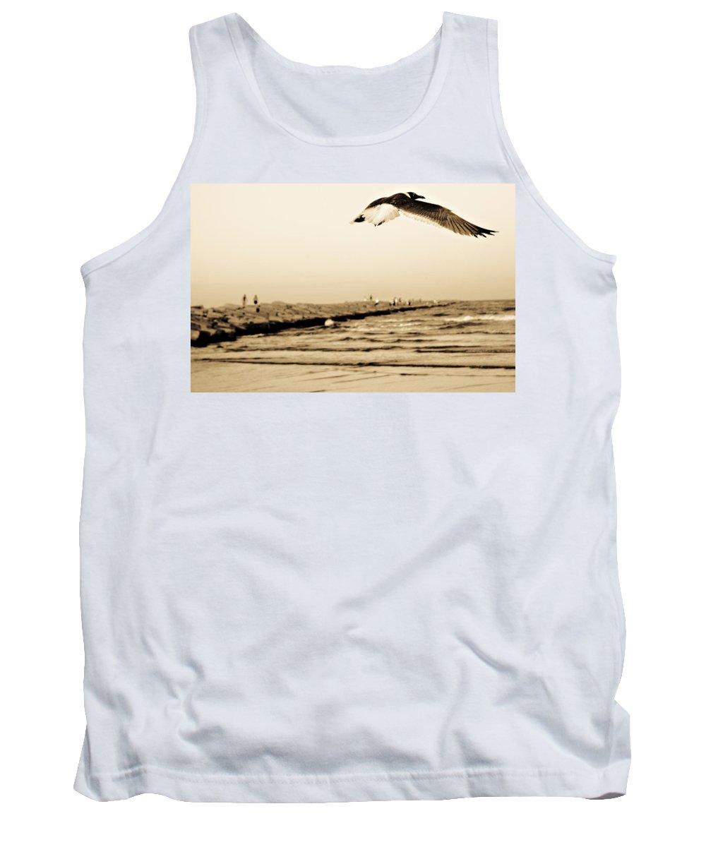 Bird Tank Top featuring the photograph Coastal Bird In Flight by Marilyn Hunt