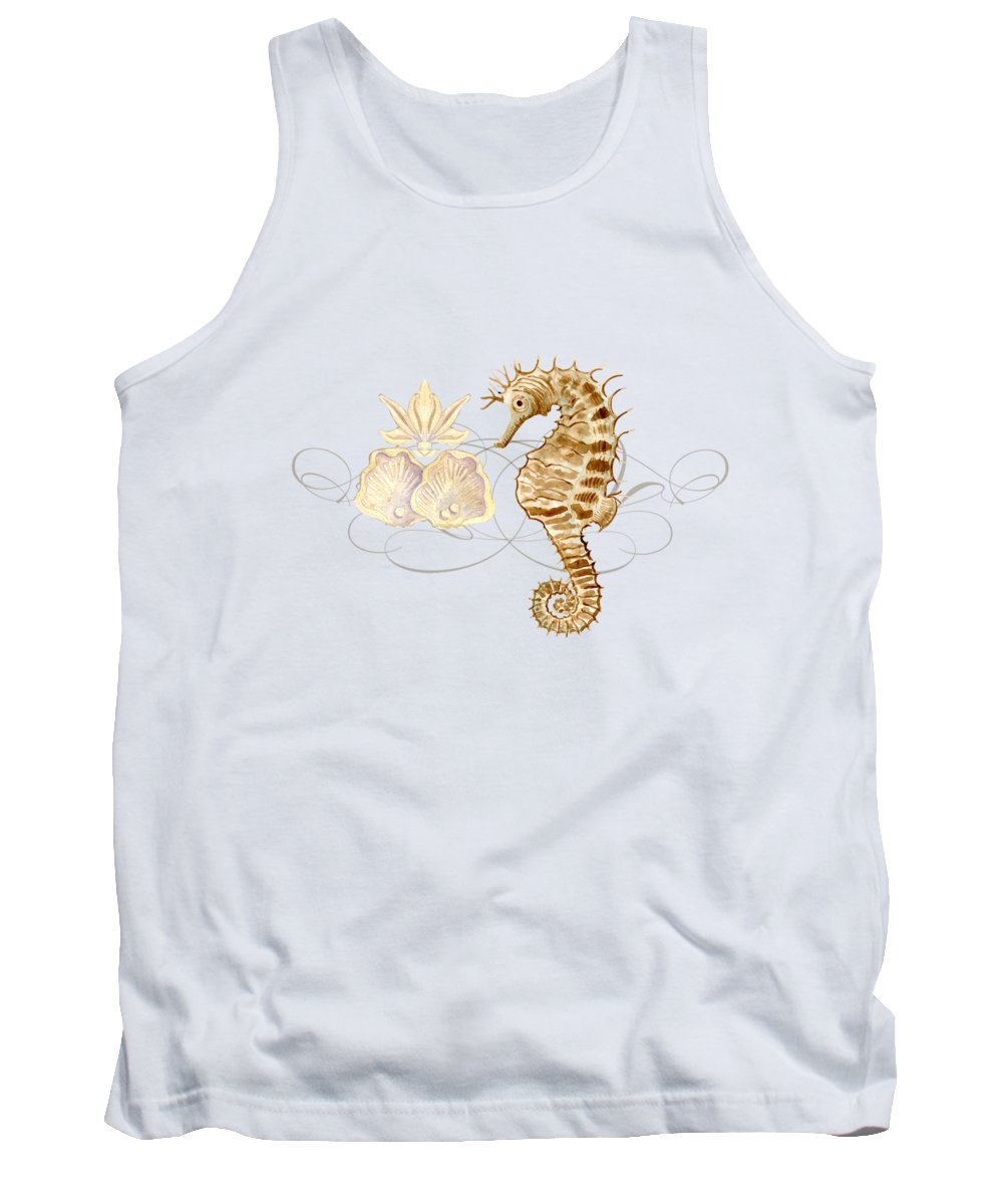 Watercolor Tank Top featuring the painting Coastal Waterways - Seahorse Rectangle 2 by Audrey Jeanne Roberts