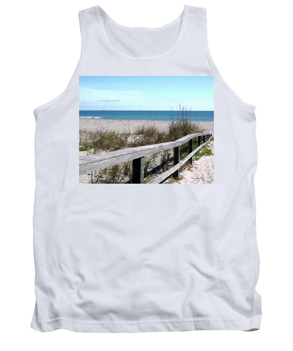 Beach; Florida; Cocoa; Railing; Ocean; Atlantic; Sea; Cocoa Beach; Brevard; Sand; Wood; Ships; Space Tank Top featuring the photograph Cocoa Beach In Florida by Allan Hughes