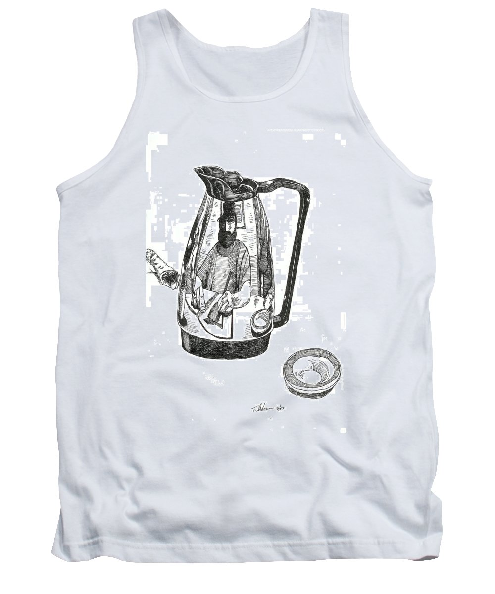 Pen And Ink Tank Top featuring the drawing Coffee Pot by Tobey Anderson
