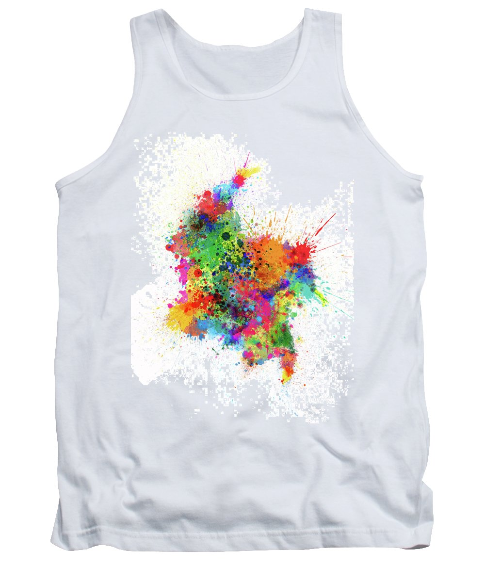 Colombia Map Tank Top featuring the digital art Colombia Paint Splashes Map by Michael Tompsett