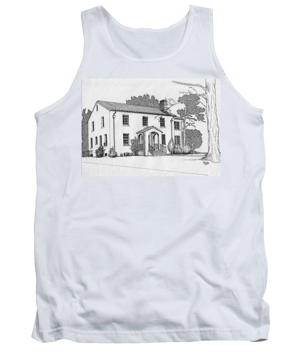 Drawing - Pen And Ink Tank Top featuring the drawing Colonel Quarters 2 - Fort Benning Ga by Marco Morales
