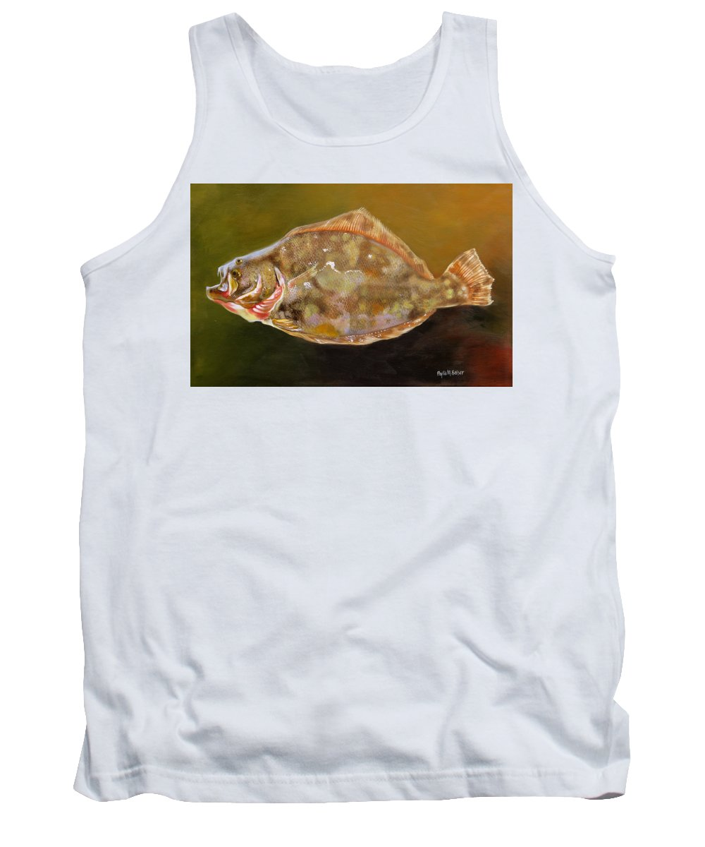 Flounder Tank Top featuring the painting Colorful Flounder by Phyllis Beiser