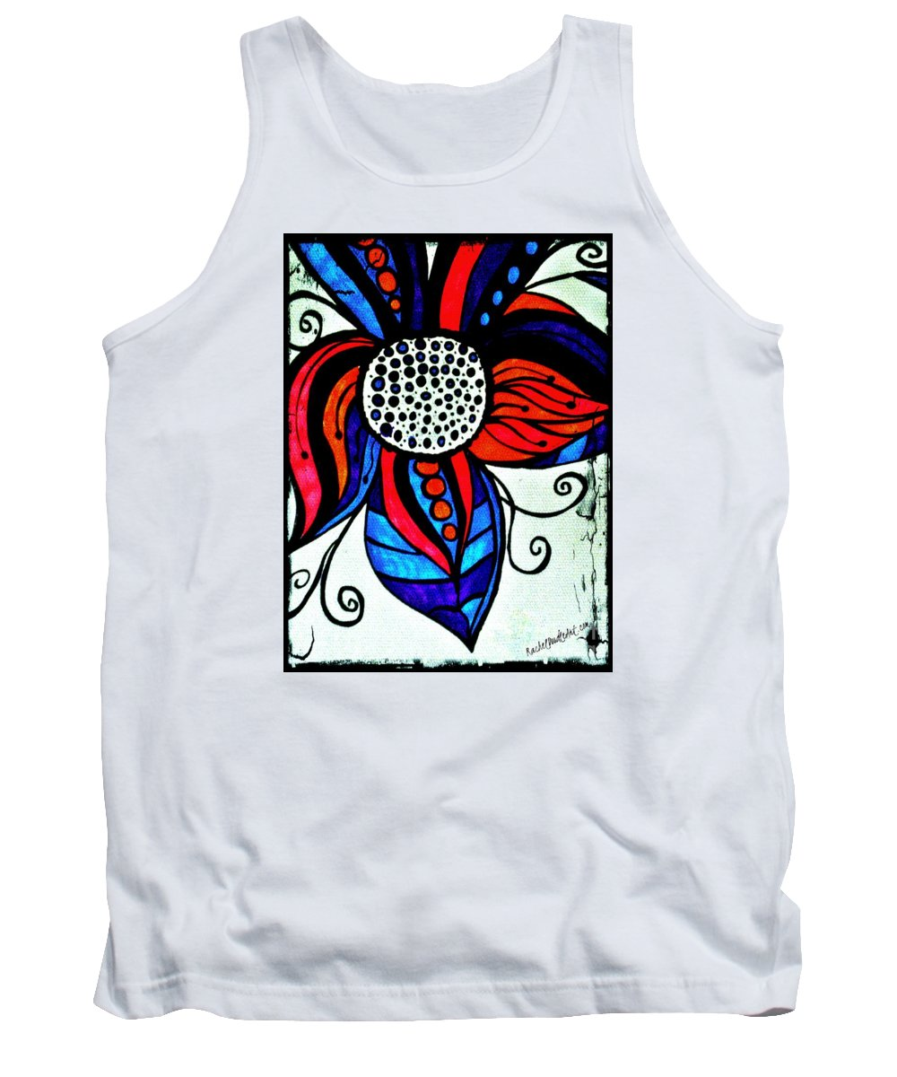 Doodle Tank Top featuring the drawing Colorful Flower by Rachel Maynard