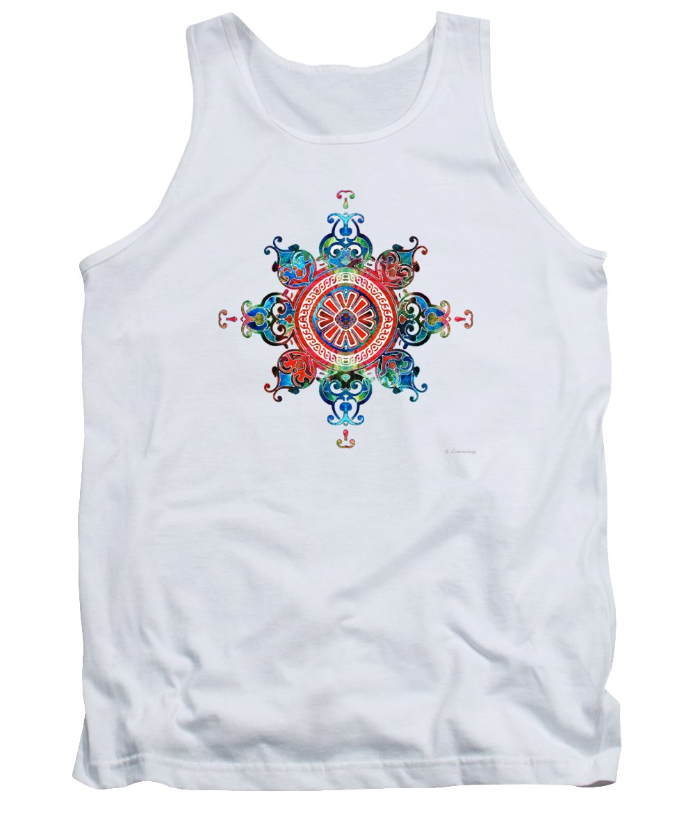 Mandala Tank Top featuring the painting Colorful Pattern Art - Color Fusion Design 3 By Sharon Cummings by Sharon Cummings