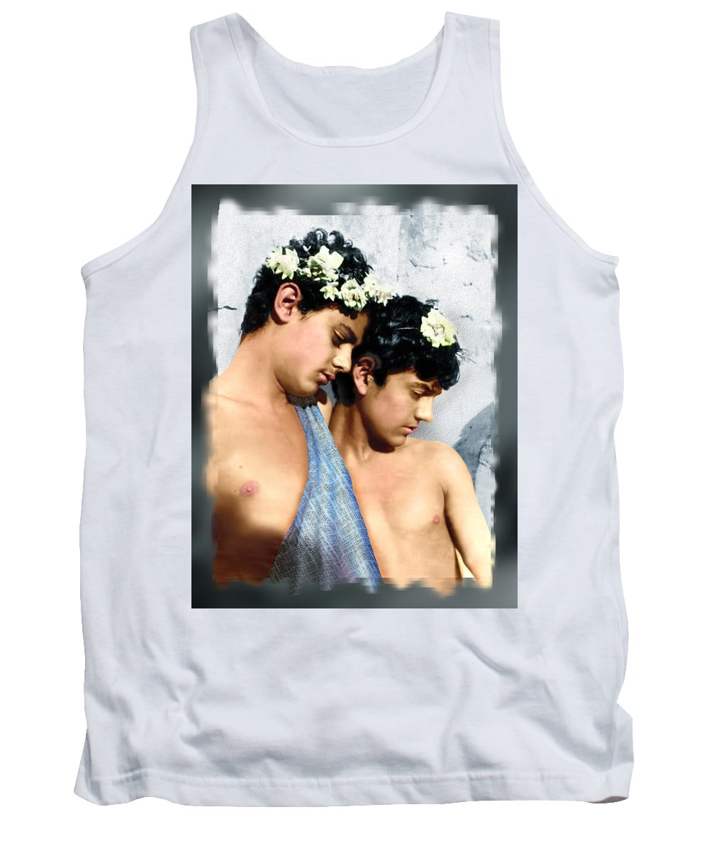 Colorized Vintage Photo Tank Top featuring the digital art Colorized Edoardo And Vincenzo Galdi By Pluschow by Alex Lim