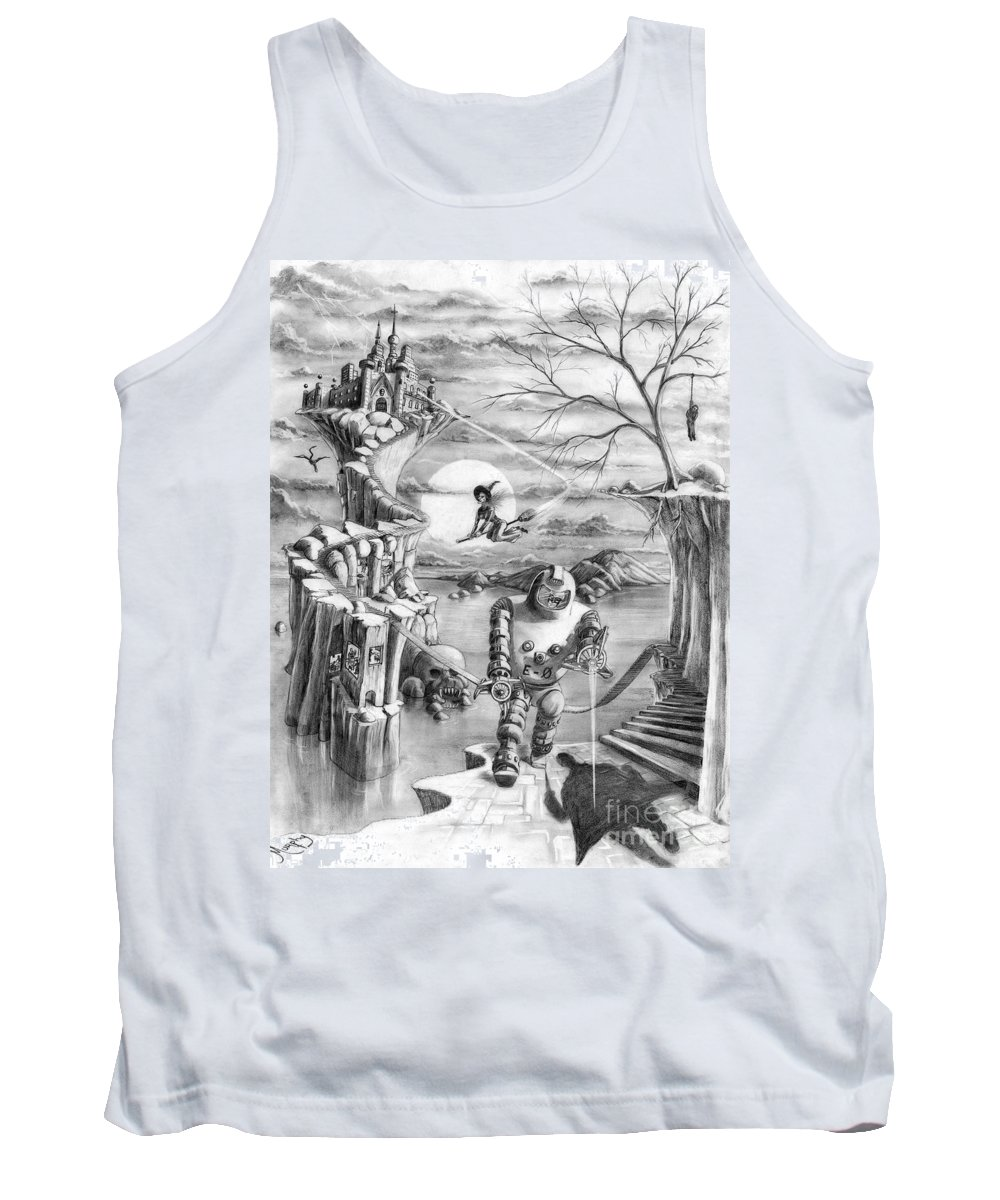 Witch Tank Top featuring the drawing Comic Book Cover by Murphy Elliott