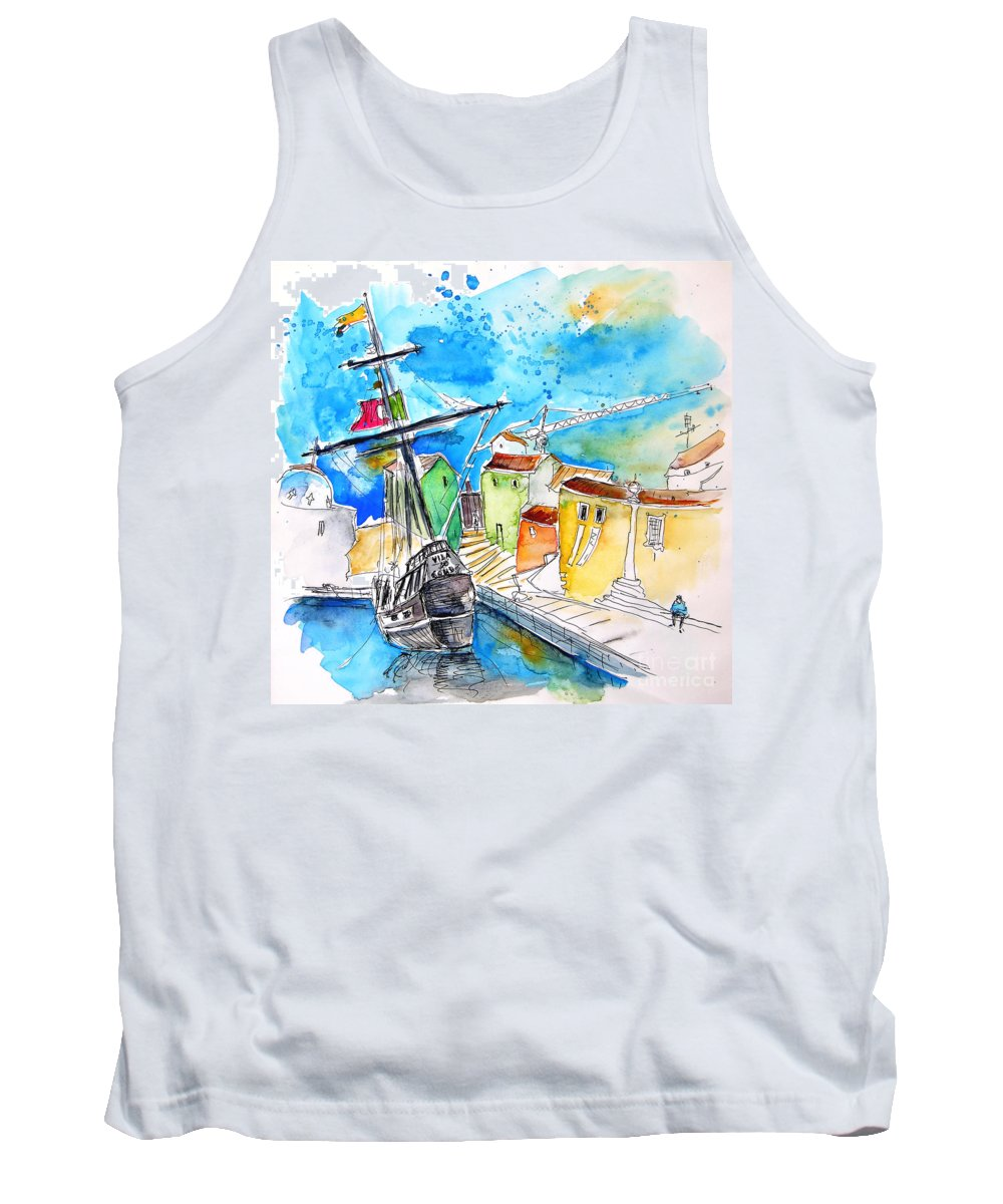Portugal Tank Top featuring the painting Conquistador Boat In Portugal by Miki De Goodaboom