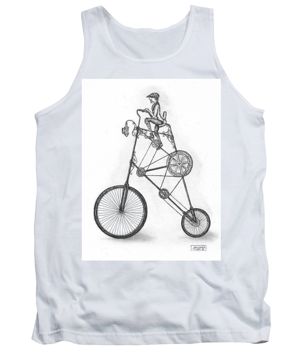 Pen & Ink Tank Top featuring the drawing Contraption by Adam Zebediah Joseph