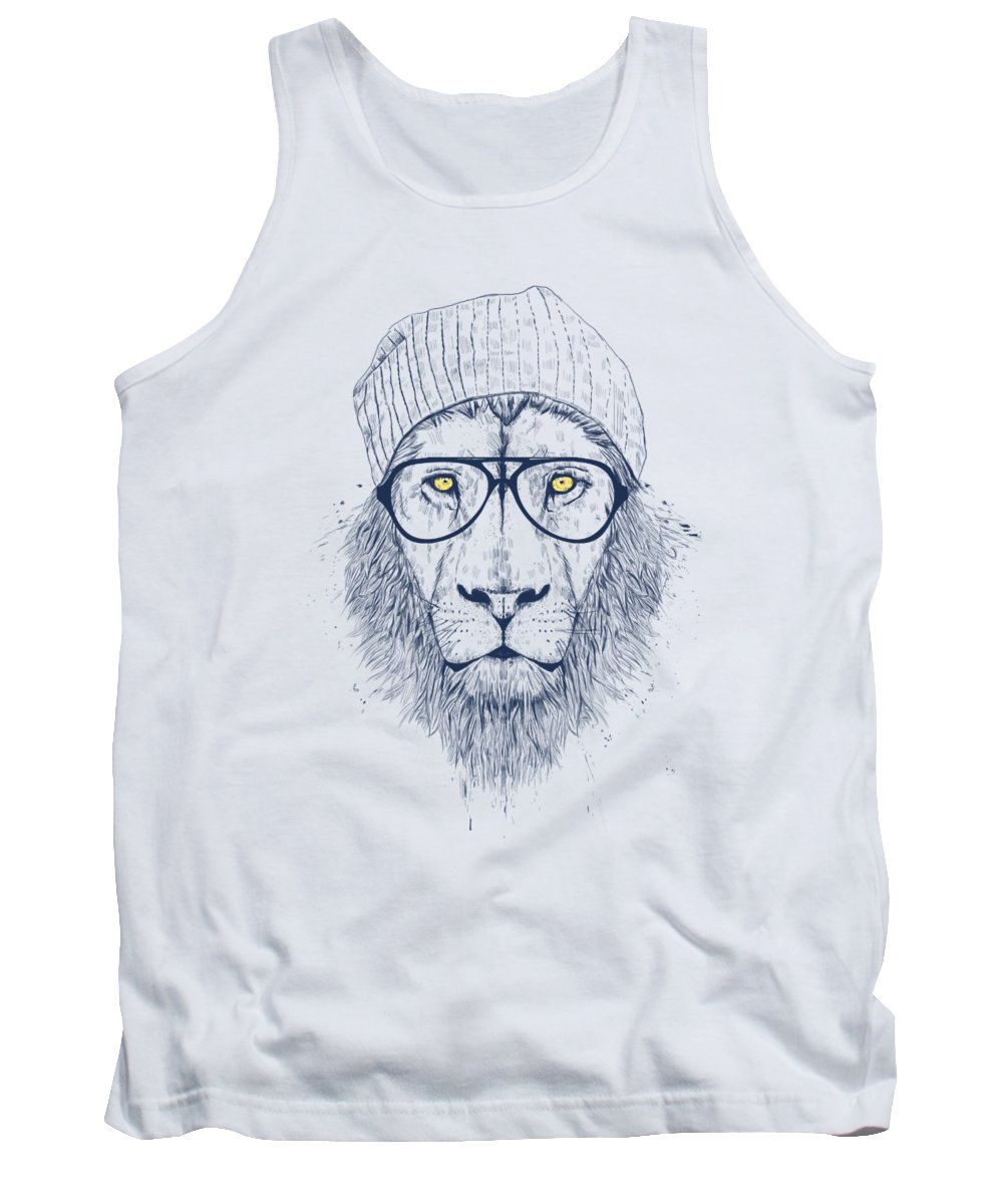 Lion Tank Top featuring the digital art Cool lion by Balazs Solti