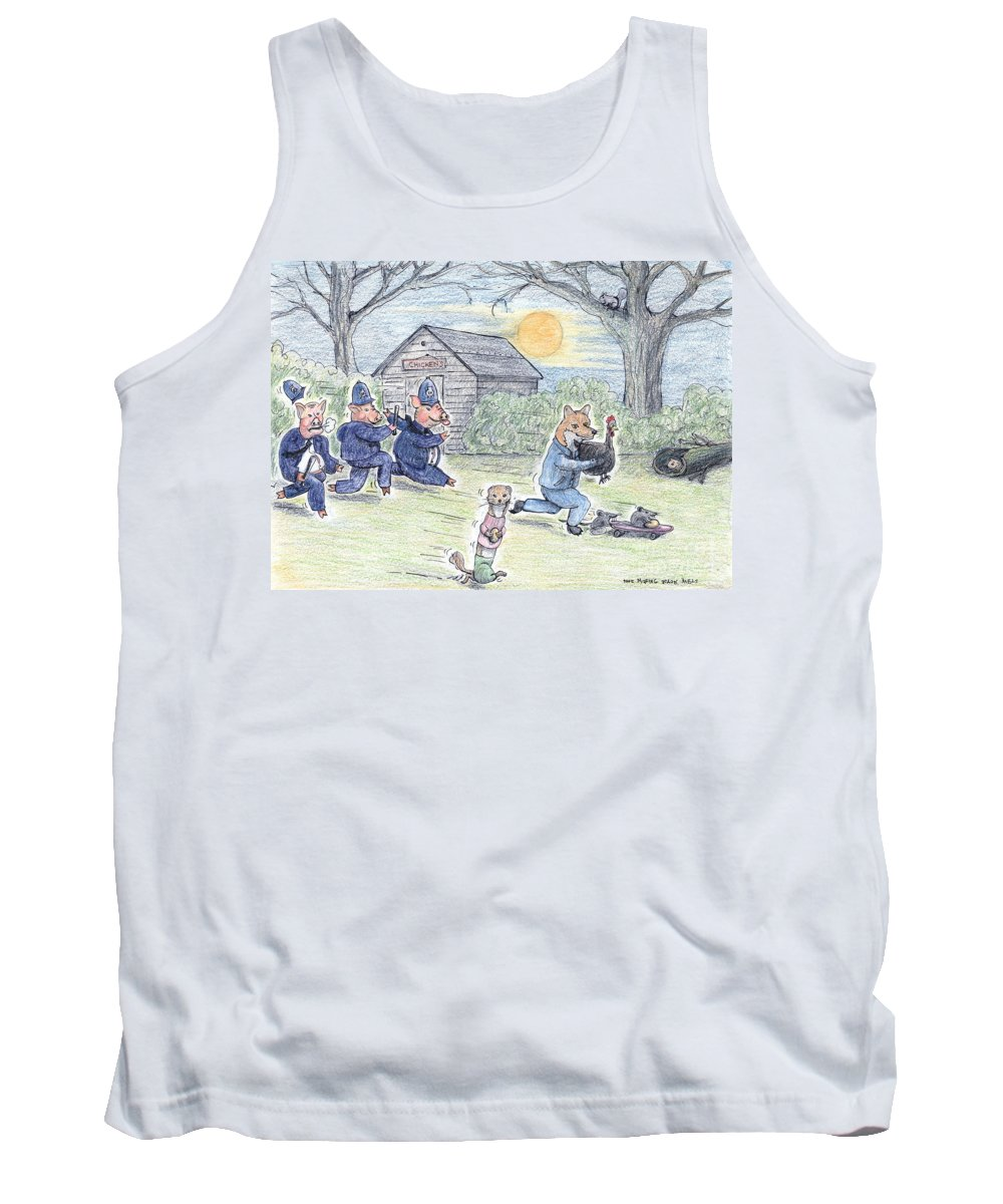 Pig Tank Top featuring the painting Cops And Robbers by Steve Royce Griffin
