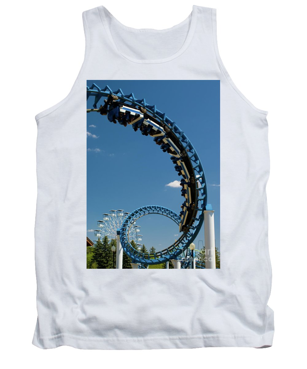 Cork-screw Rollercoaster Tank Top featuring the photograph Cork-screw Rollercoaster And Ferris-wheel by Anthony Totah