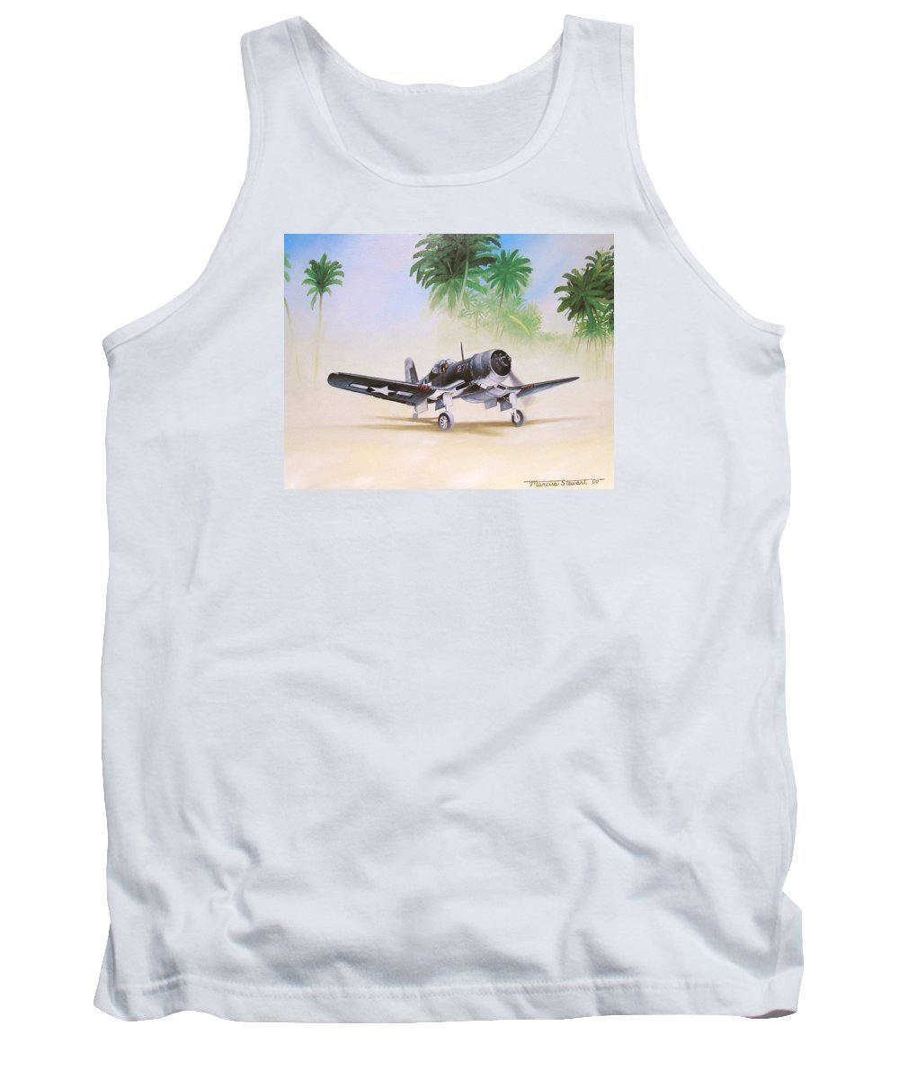 Aviation Tank Top featuring the painting Corsair Preflight by Marc Stewart