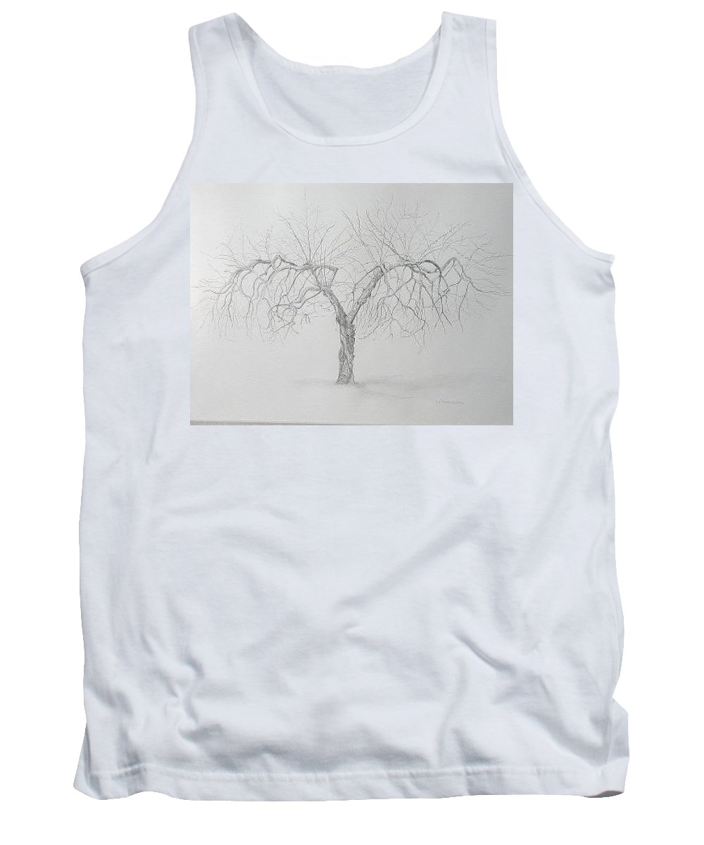Cortland Apple Tree Tank Top featuring the drawing Cortland Apple by Leah Tomaino