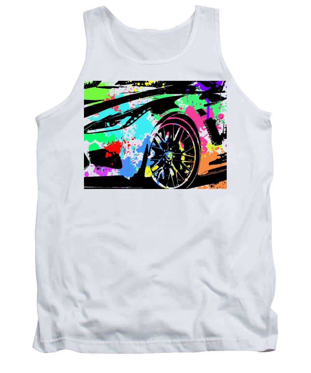 Chevy Tank Top featuring the digital art Corvette Pop Art 3 by Ricky Barnard