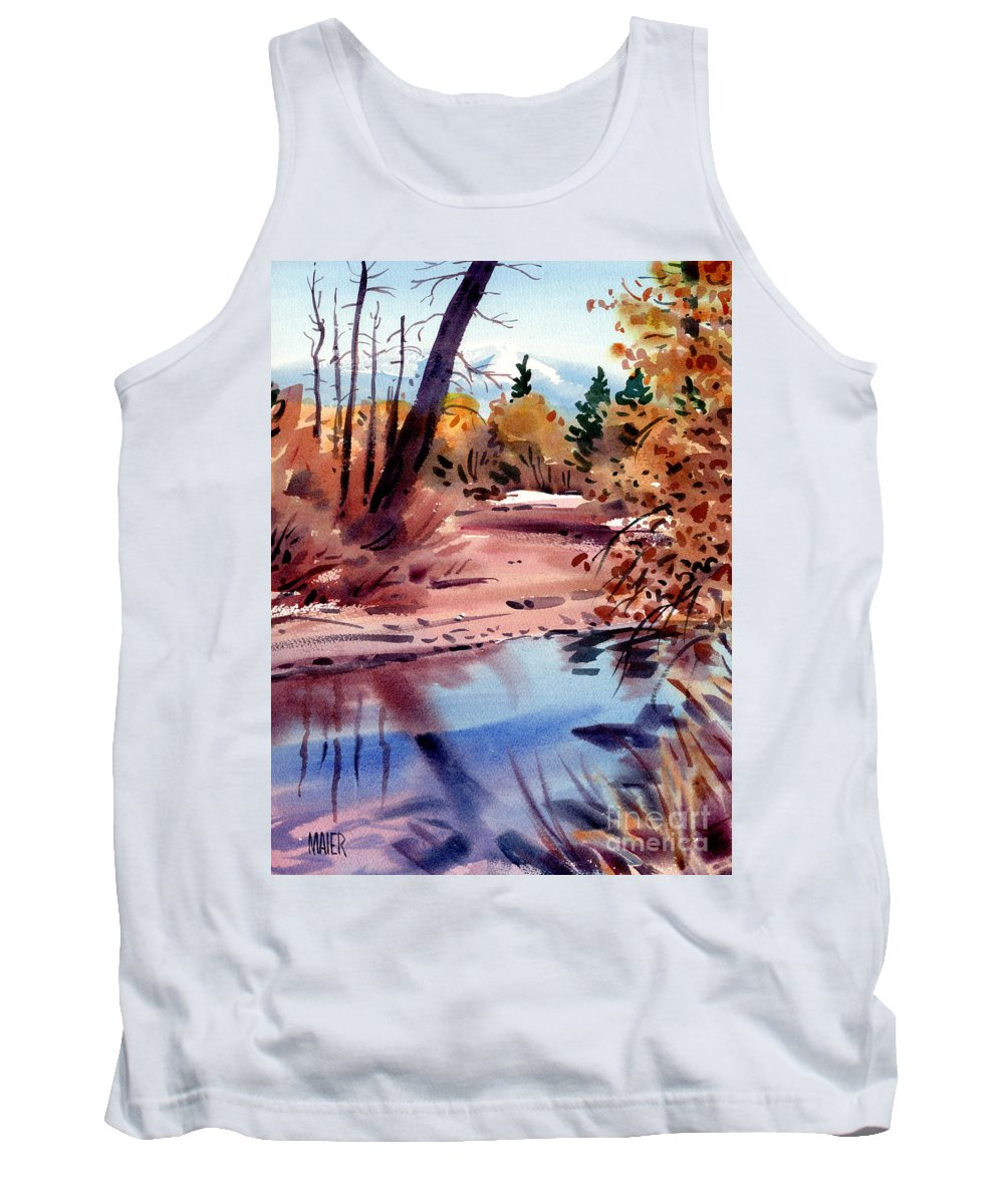 Cottonwood Trees Tank Top featuring the painting Cottonwoods In October by Donald Maier