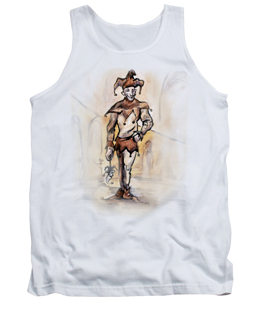 Jester Tank Top featuring the painting Court Jester by Kevin Middleton