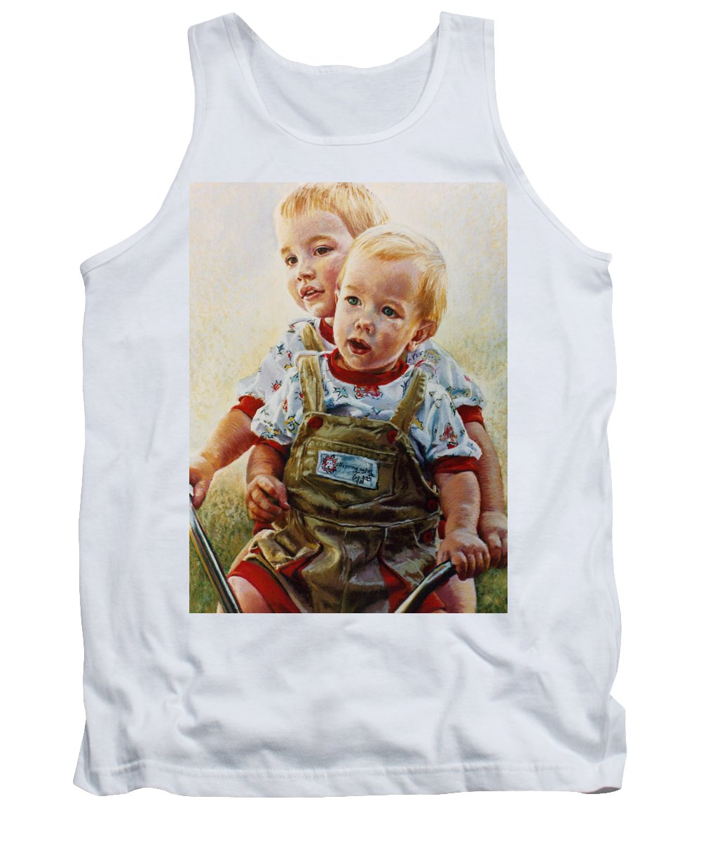 Pastel Portrait Tank Top featuring the pastel Cousins by Jean Hildebrant