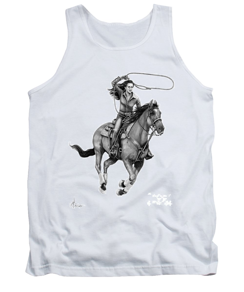 Pencil Tank Top featuring the drawing Cowgirl by Murphy Elliott