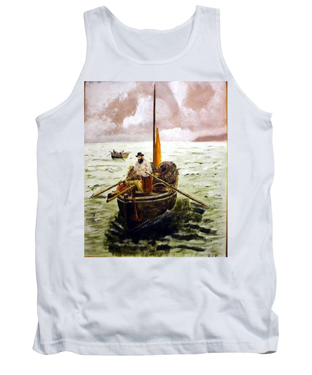 Crab Fisherman Tank Top featuring the painting Crab Fisherman by Richard Le Page