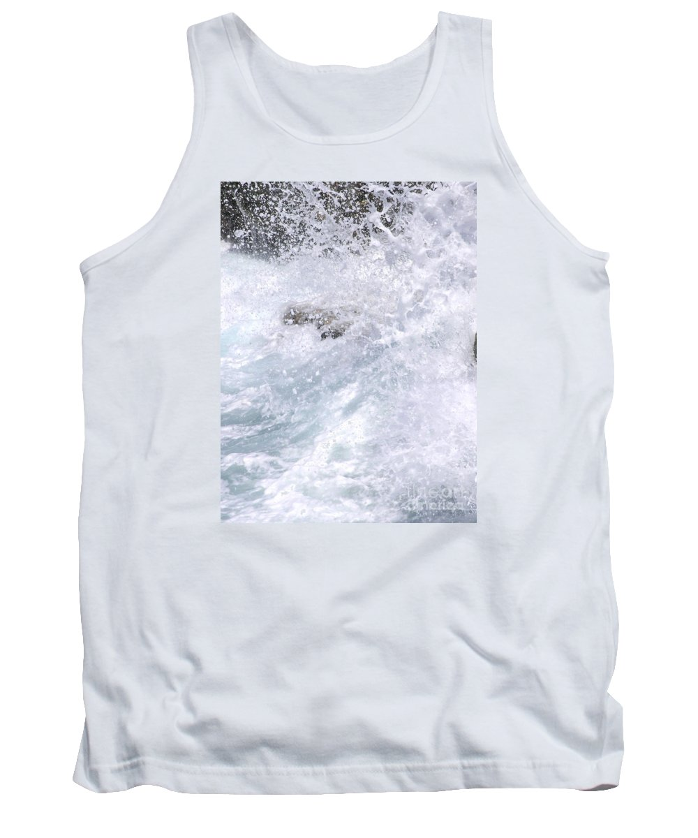 White Water Tank Top featuring the photograph Crashing Against Lava Rocks by Mary Deal