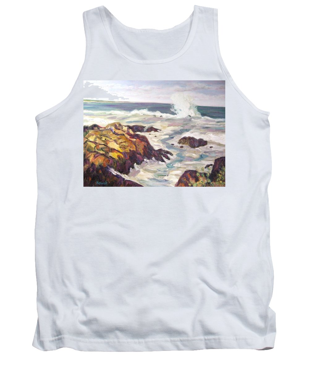 Water Tank Top featuring the painting Crashing Wave On Maine Coast by Richard Nowak