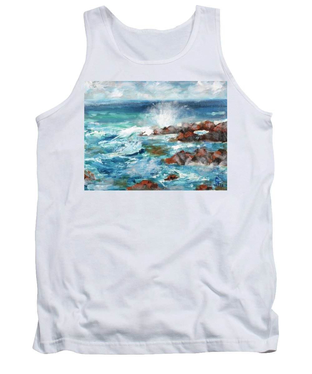 Sea Tank Top featuring the painting Crashing Waves by Walter Fahmy