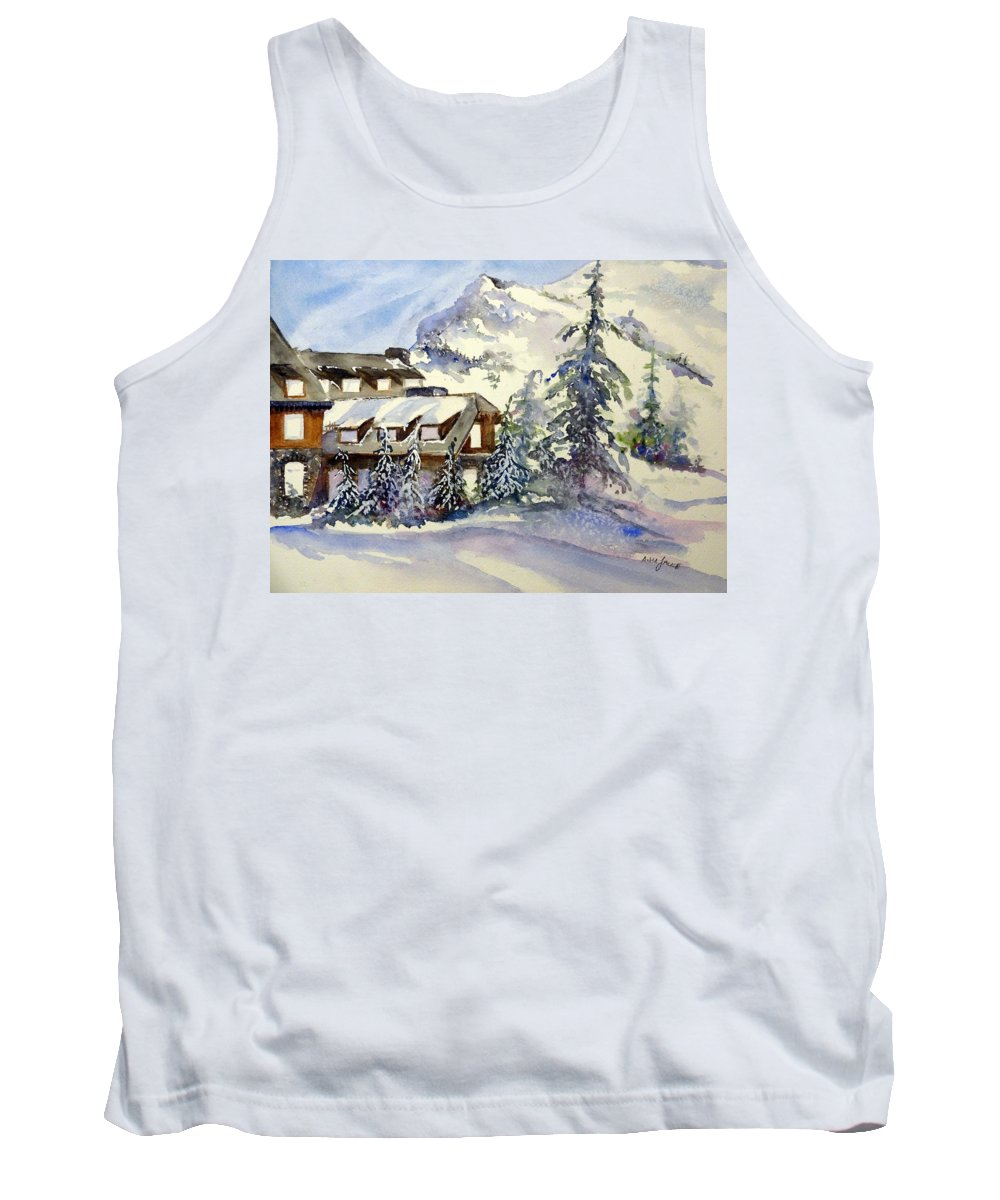 Crater Lake Oregon Tank Top featuring the painting Crater Lake Lodge - Closed For Winter  by Anna Jacke