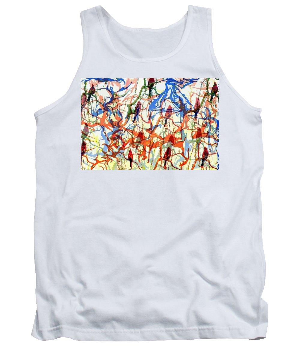 Birds Tank Top featuring the digital art Crazy Cardinals by Shelley Jones