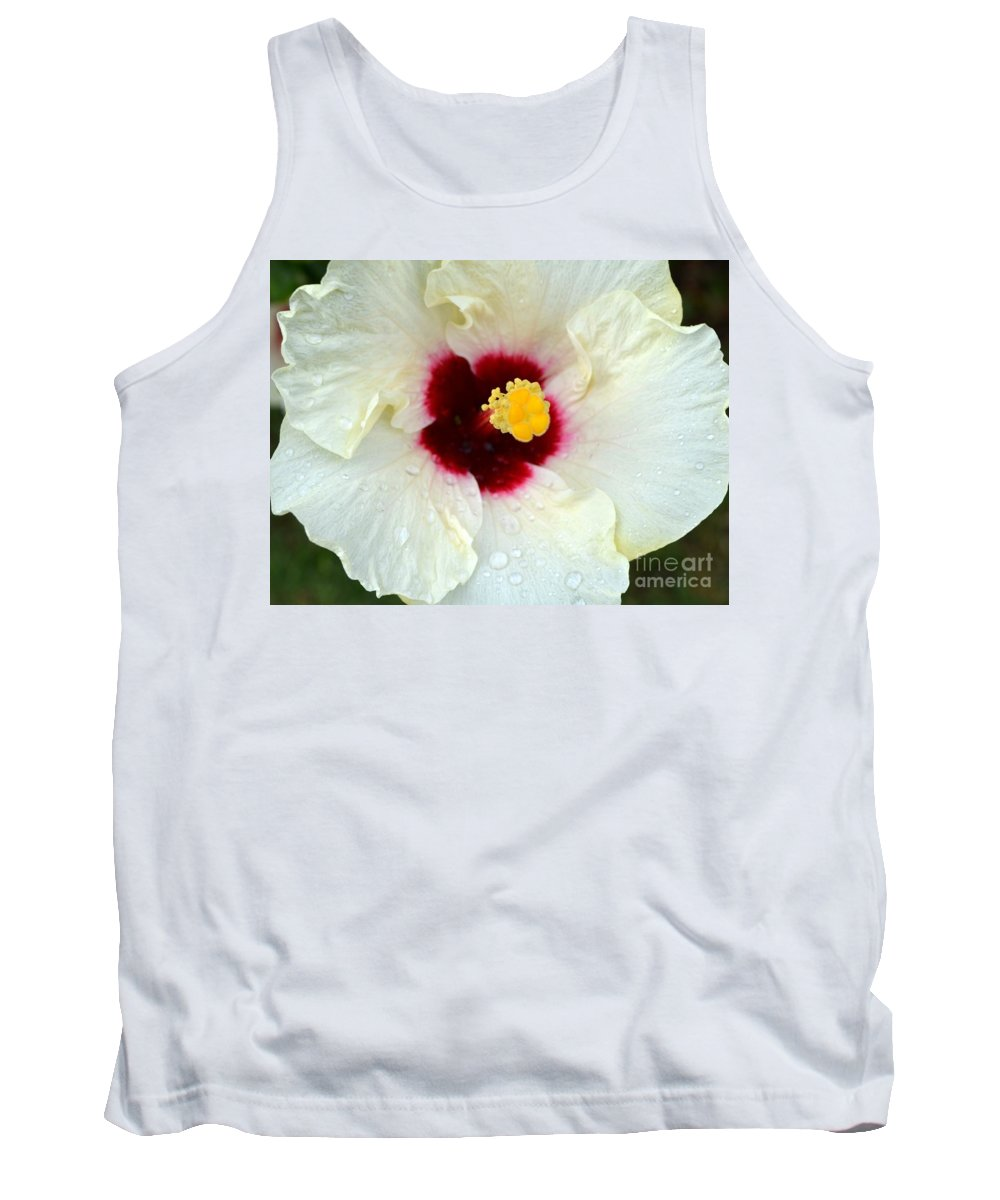 Hibiscus Tank Top featuring the photograph Creamy Hibiscus With Rain Drops by Mary Deal
