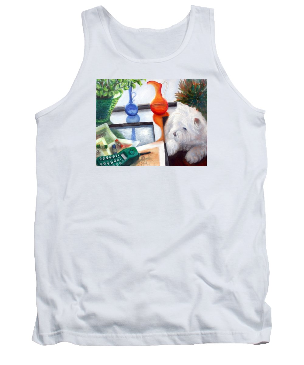 Dog Tank Top featuring the painting Creative Reflections by Minaz Jantz