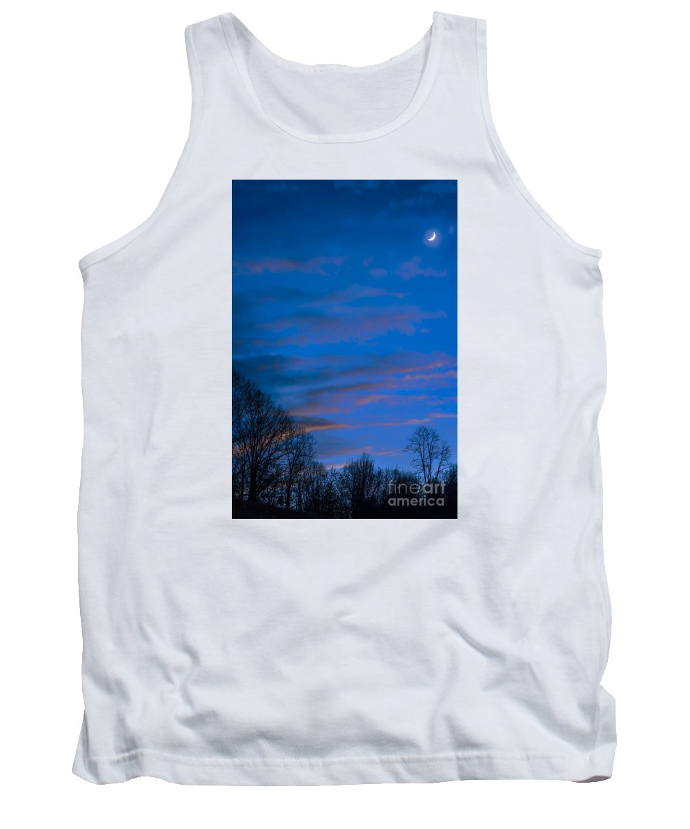 Sliver Tank Top featuring the photograph Crescent Moon At Sundown by Thomas R Fletcher
