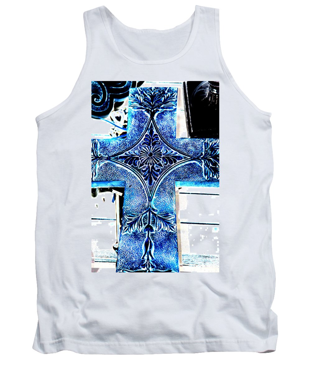 Photography Tank Top featuring the photograph Cross In Blue by Susanne Van Hulst